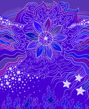 Violet flower, art  spring design element. Vector illustration Stock Photos