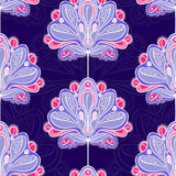 Violet flowers. Seamless blue pattern with violet flowers Stock Photography