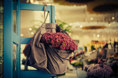Violet flowers in bag Royalty Free Stock Image