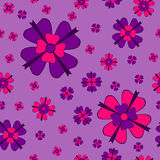 Violet flowers with bows seamless pattern Royalty Free Stock Photos