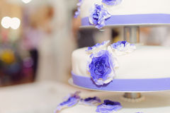 Violet Flowers on Cake Stock Photos