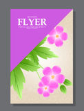 Violet flowers on a flyer. Can be used as greeting cards or wedding invitation. Vector Stock Photo