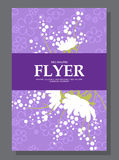 Violet flowers on a flyer. Can be used as greeting cards or wedding invitation. Vector Royalty Free Stock Photos
