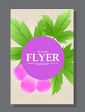 Violet flowers on a flyer. Can be used as greeting cards or wedding invitation. Vector Stock Images