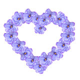 Violet flowers in a heart shape arrangement Stock Photography