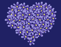 Violet flowers love heart. Illustration of blooming violet flowers in shape of love heart Stock Illustration