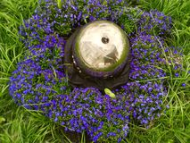 Violet Flowers And Metal Sphere Fotos de Stock Royalty Free