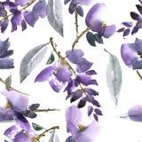 Violet flowers pattern royalty free illustration