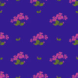 Violet flowers retro style seamless pattern Royalty Free Stock Photo