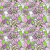 Violet flowers - seamless pattern Royalty Free Stock Photo
