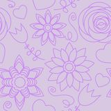 Violet flowers seamless pattern Stock Image
