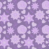 Violet flowers seamless pattern Royalty Free Stock Photos
