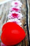 Violet Flowers sur le Tableau en bois de vintage Photographie stock