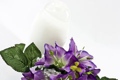 silk flowers and  bottle Stock Image