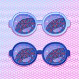 Violet Frame with Abstract Flower Glasses Royalty Free Stock Photography
