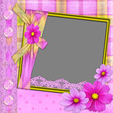 Violet frame with florets. Laces, and buttons for photo registration Stock Image
