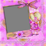 Violet frame with the girl and florets. Laces and a bow for photo registration Royalty Free Stock Images