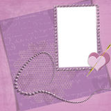 Violet frame with heart Stock Images