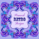 Violet frame with painted peacock feathers and retro label Stock Images