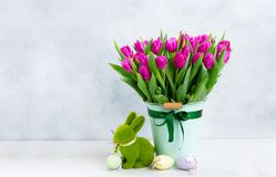 Pink fresh tulips stock image