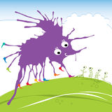 Violet funny monster for your design. Royalty Free Stock Photo