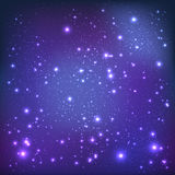 Violet galaxy background with light, stars. Vector Illustration. Xmas and New Year Royalty Free Stock Image