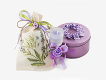 Violet gemstone box,  aroma candle in glass decorated with flowers Stock Image