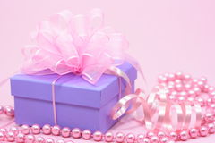 Violet gift box Stock Photography