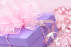 Violet gift box Stock Photos