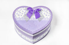 Violet gift box heart shaped Royalty Free Stock Images