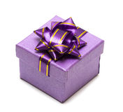 Violet Gift Box Isolated Stock Photo