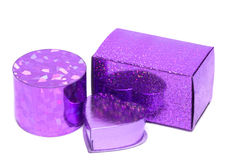 Violet gift boxes isolated Stock Images