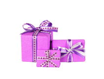 Violet gift boxes Royalty Free Stock Photography