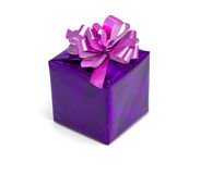 Violet gift on a white background Stock Photography