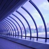 Violet glass corridor stock photo