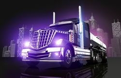 Violet Glowing Tanker Truck. And the City Skyline 3D Illustration Stock Photos