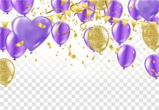 Violet and Gold balloons arranged two row on the center with lon. G golden ribbons isolated on white background Royalty Free Stock Photo