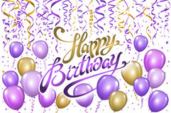 Violet gold balloons happy birthday background. vector Stock Images