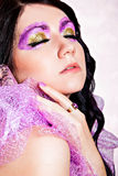 Violet and gold glitter eye-make-up Royalty Free Stock Photos