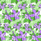 Violet Green Flower Seamless Pattern Vector Royalty Free Stock Photos