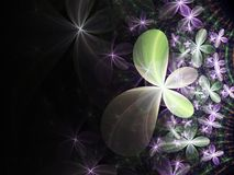 Violet and green fractal flowers. Digital artwork for creative graphic design Royalty Free Stock Image