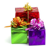 Violet, green, red and yellow gift Royalty Free Stock Image