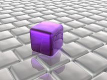 Violet and grey cubes. As abstract background, 3D illustration Royalty Free Stock Photo