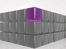 Violet and grey cubes. As abstract background, 3D illustration Stock Images