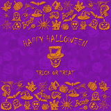 Violet Halloween background with sketches icons Royalty Free Stock Photography