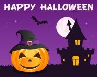 Violet Halloween Pumpkin Haunted House Stock Photos