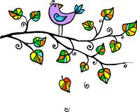 Violet hand-drawn bird on the tree Stock Image