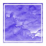 Violet hand drawn watercolor rectangular frame background texture with stains. Modern design element stock photo