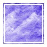 Violet hand drawn watercolor rectangular frame background texture with stains. Modern design element stock illustration