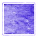 Violet hand drawn watercolor rectangular frame background texture with stains. Modern design element stock photos